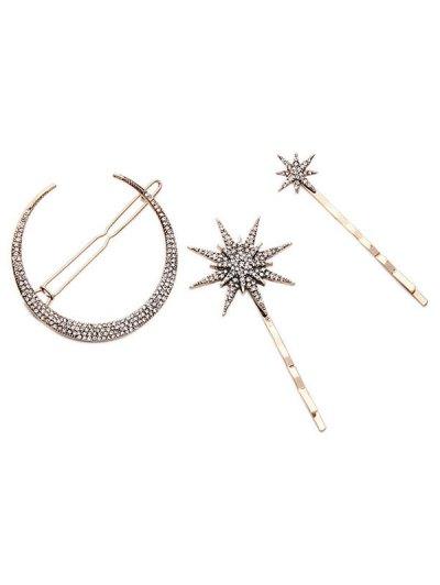 Rhinestone Moon Star Hairpins For Women