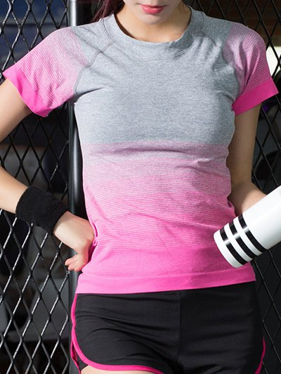 Short Sleeves Gradient Color Elastic T Shirt