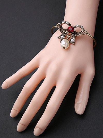 Rhinestone Faux Pearl Bowknot Bracelet