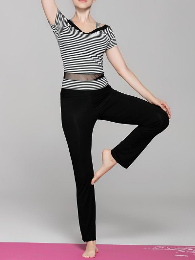 Short Sleeve Striped Spliced Yoga T Shirt Pants Women s Twinset