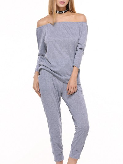 Sporty Off The Shoulder Top and Drawstring Pants Women s Twinset