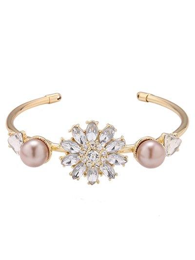 Faux Crystal Flower Triangle Bracelet