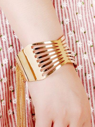 Gold Plated Geometric Fringe Cuff Bracelet