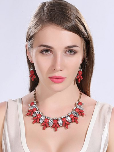 Faux Crystal Resin Necklace and Earrings