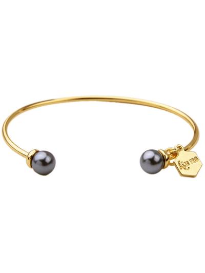 Faux Pearl Pentagon Alloy Cuff Bracelet