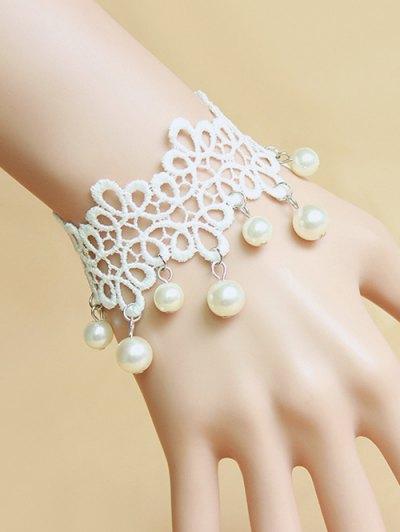 Faux Pearl White Lace Bracelet