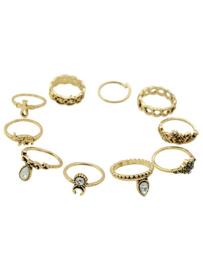 Chic Rhinestone Elephant Floral Rings