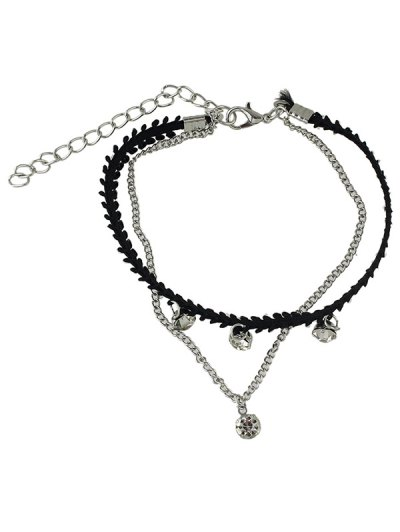 Chic Rhinestone Layered Chain Anklet