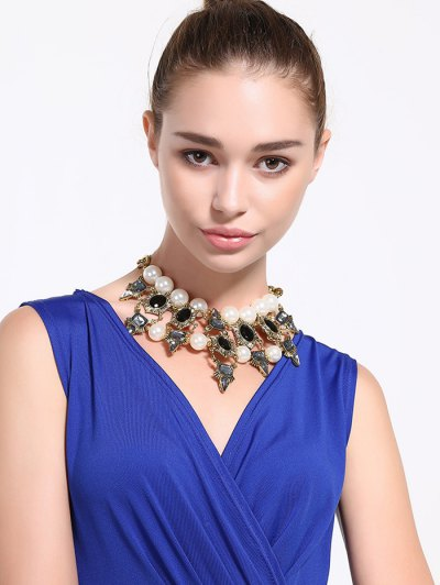 Faux Pearl Rhinestone Oval Water Drop Necklace