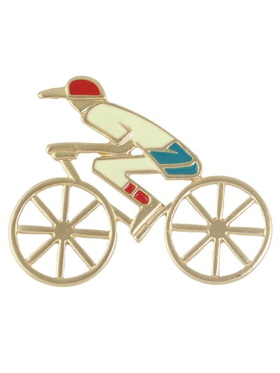 Hollow Out Bicycle Boy Shape Brooch