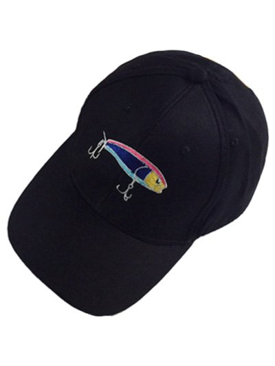 Colorful Fish and Fishhook Embroidery Baseball Hat