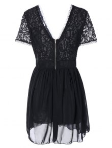 Lace Spliced Plunging Neck Sexy Birthday Dress - BLACK M