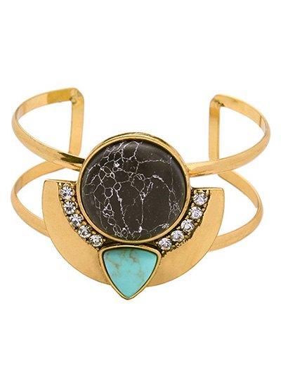 Faux Gemstone Rhinestone Cuff Bracelet