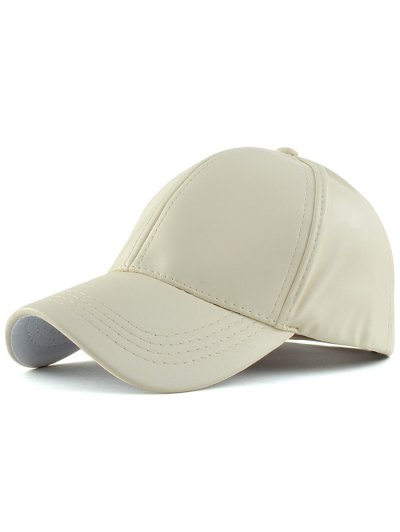 Curved Brim Faux Leather Baseball Hat