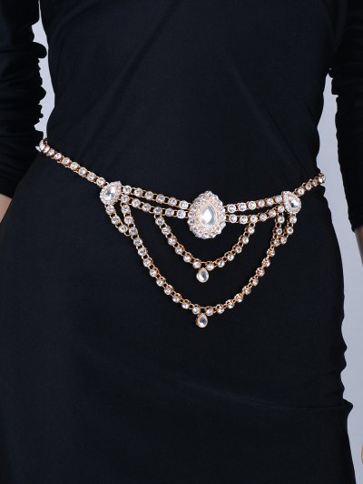 Rhinestoned Water Drop Belly Chain