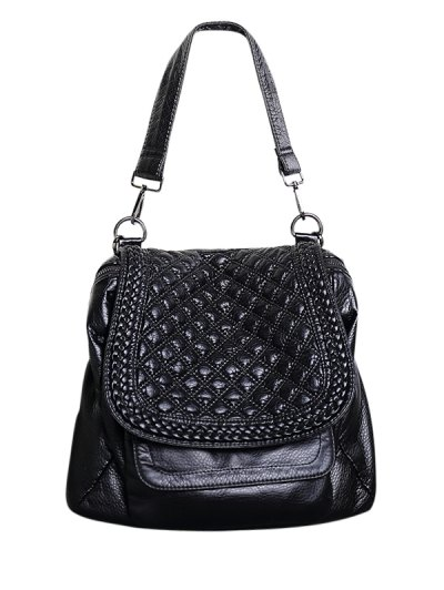 PU Leather Plaid Pattern Backpack