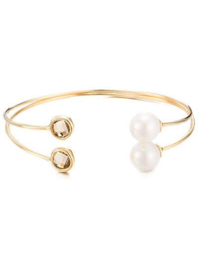Layered Faux Crystal Pearl Cuff Bracelet