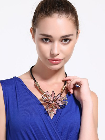 Faux Leather Alloy Rhinestone Floral Necklace