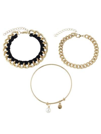Faux Pearl Chain Jewelry Set Bracelets