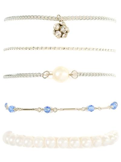Faux Pearl Rhinestone Beaded Bracelet Set