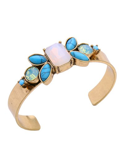 Faux Gem Turquoise Geometric Cuff Bracelet