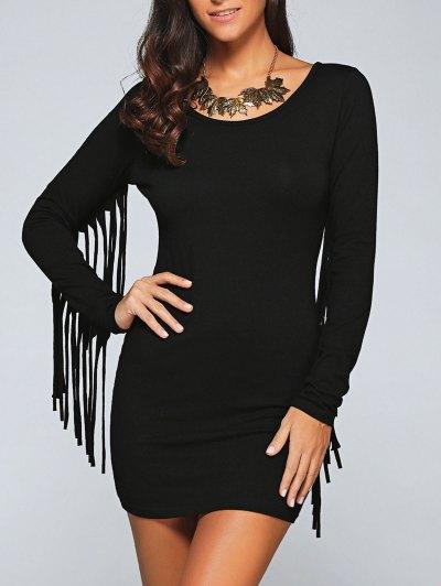 Scoop Neck Fringed Sleeve Bodycon Dress