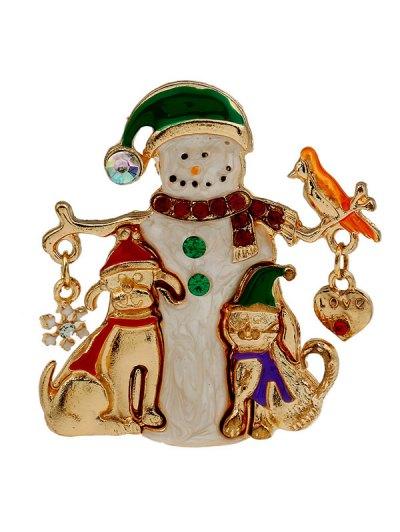 Christmas Enamel Snowman Brooch