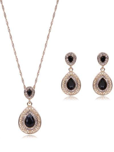Faux Gem Rhinestone Teardrop Jewelry Set
