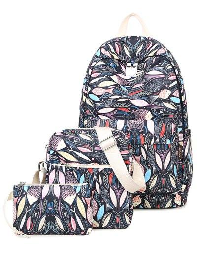 Fish Print Zippers Backpack