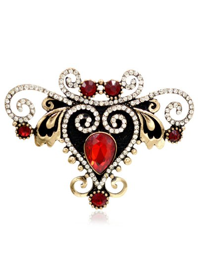 Rhinestone Fake Gem Heart Brooch