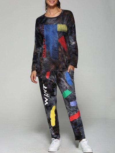Printed Sweatshirt and Jogger Pants