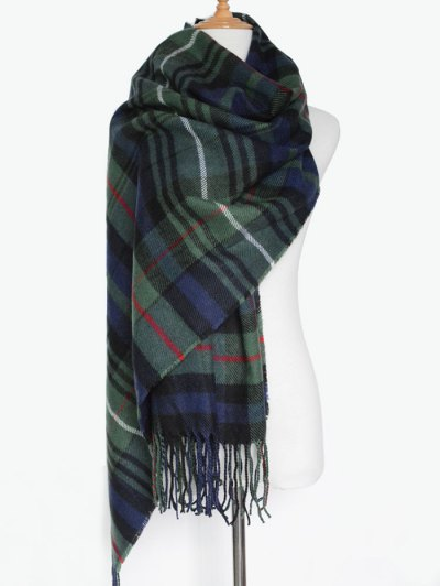 Double Color Plaid Fringe Knitted Scarf