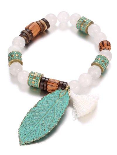 Handmade Faux Pearl Leaf Bracelet