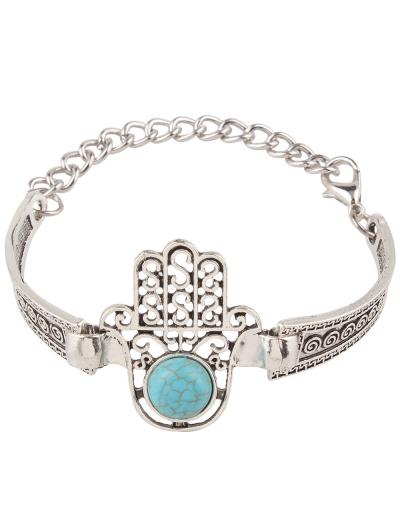 Fake Turquoise Palm Alloy Bracelet