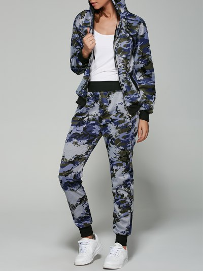 Camo Print Hooded Sports Suit