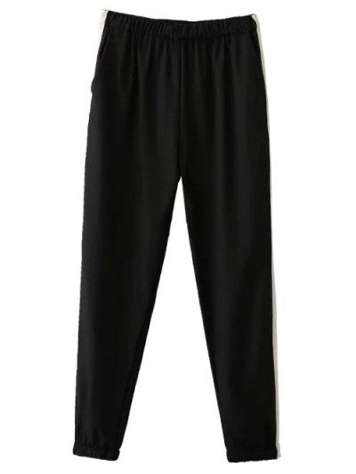 Elastic Waist Color Block Pants