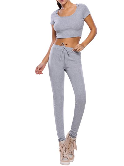 Crop Top and Pants Fitness Gym Outfit