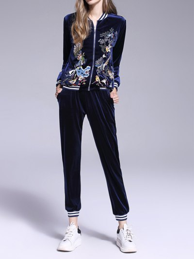 Animal Embroidered Velvet Sports Suit