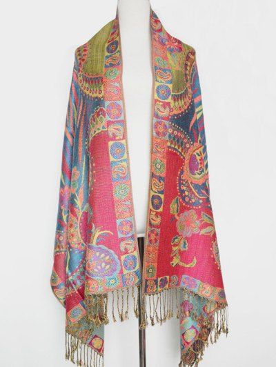 Ethnic Paisley and Flower Pattern Tassel Pashmina