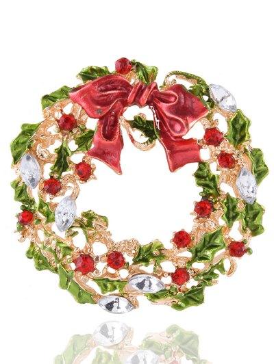 Rhinestone Bows Leaves Christmas Brooch