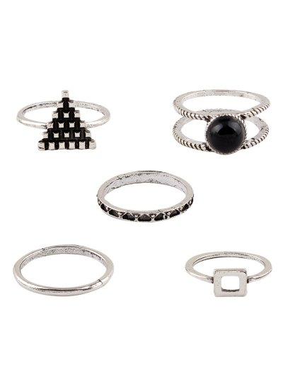 Burnished Faux Gem Chic Ring Set