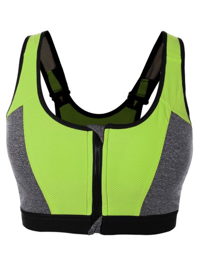 Color Block Cut Out Back Zipper Sports Bra
