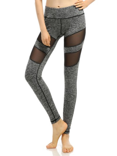Heathered Mesh Insert Stretchy Slimming Pants