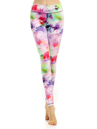 Breathable Stretchy Multicolor Printed Leggings