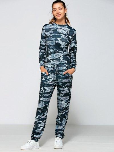 Camo Print Drawstring Waist Sports Suit
