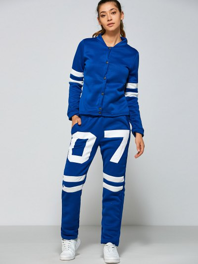 Single Breasted Jacket and Number Print Pants