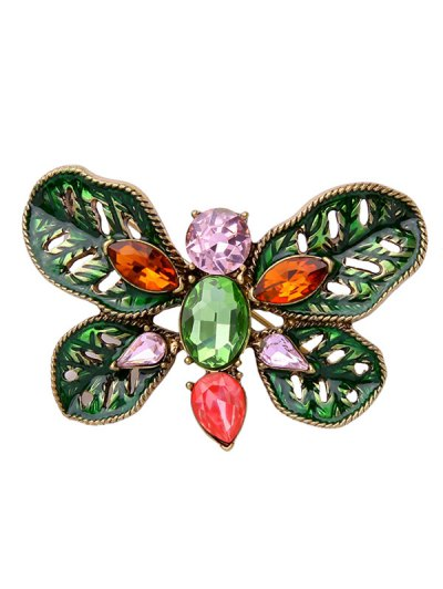Faux Gem Oval Leaf Butterfly Brooch