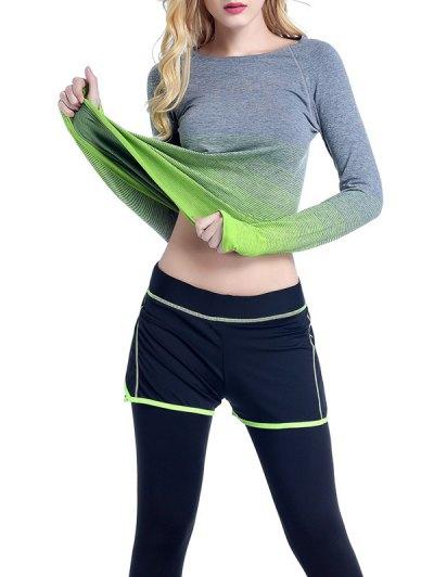 Round Neck Ombre Yoga Gym T Shirt