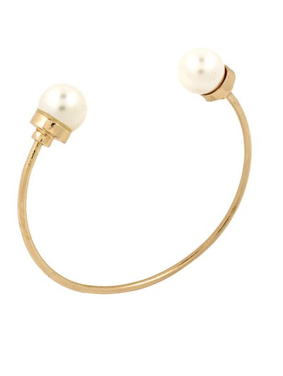 Artificial Pearl Alloy Beads Cuff Bracelet
