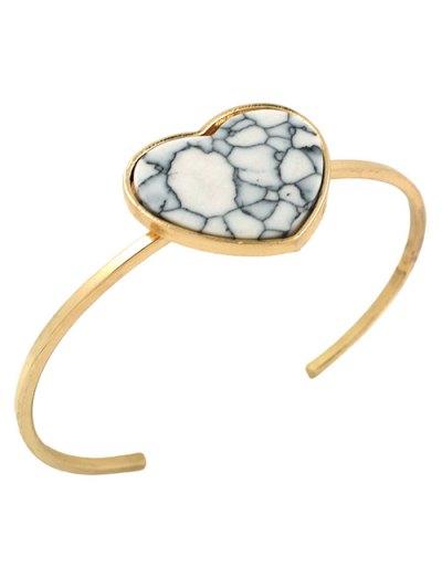 Artificial Gem Heart Cuff Bracelet